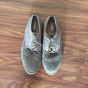 Calvin Klein Grey Suede Oxfords